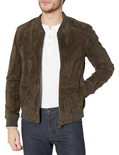 [BLANKNYC] mens Suede Bomber Leather Jacket, Brown, Large US