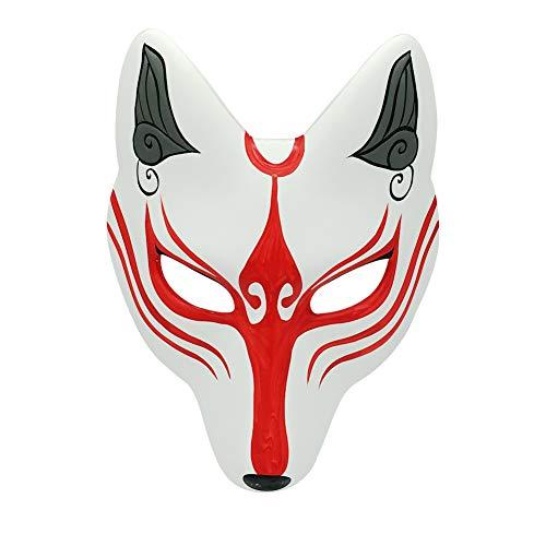 Kitsune Fox Mask for Halloween Masquerade Party, YangYong Kabuki PU Masks for Costume