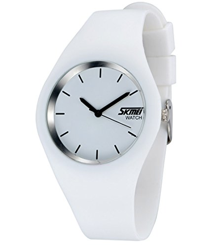 Gosasa Casual Simple Style Silicone Strap Women Sports Watches 30M Waterproof (White)