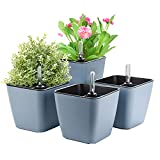Herefun Plastik Selbstbewässerung Blumentopf mit Wasseranzeiger, 4er-Set Plastik Pflanzgefäße...