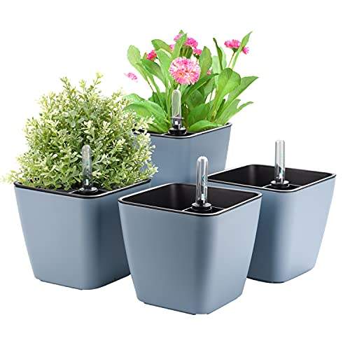 Herefun Vaso da Fiori Autoirrigante con Indicatore del Livello dell Acqua, Set di 4 Vasi per Piante Vaso Fioriera da Interno Ed Esterno Cachepot per Piante Vaso con Adesivi Decorativi (A)