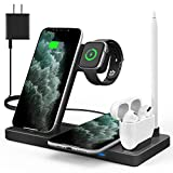 WAITIEE Wireless Charger 5 in 1 Wireless Charging Station for iWatch SE/6/5/4/3/2/1,AirPods3/2/1, Pencil,Fast Charger Dock for iPhone 12/Pro/11/11 Pro Max/XR/XS Max/Xs Black(No iWatch Charging Cable)