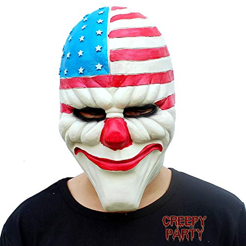 CreepyParty Halloween Kostüm Party Latex Kopfmaske Clown Payday2 Maske