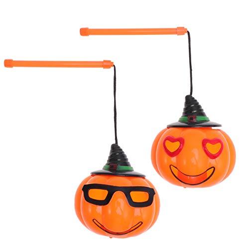 Amosfun - Farolillos de Calabaza de Mano para Halloween con Sonido Brillante, Luces portátiles, 2 Unidades