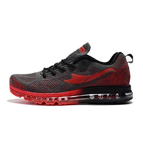 Mixobor Luftgefederte Laufschuhe für Damen und Herren, Unisex, Turnschuhe, modische Sportsneakers, Jogging, Fitness, Studio, Leichtathletik, Rot - schwarz / rot - Größe: 36 EU