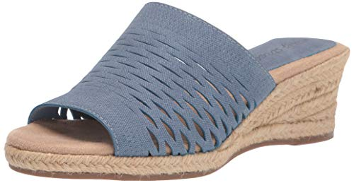 Easy Street womens Espadrille Wedge Sandal, Denim Linen Print, 6 X-Wide US