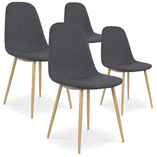 INTENSEDECO Lot de 4 chaises scandinaves Bali Tissu Gris