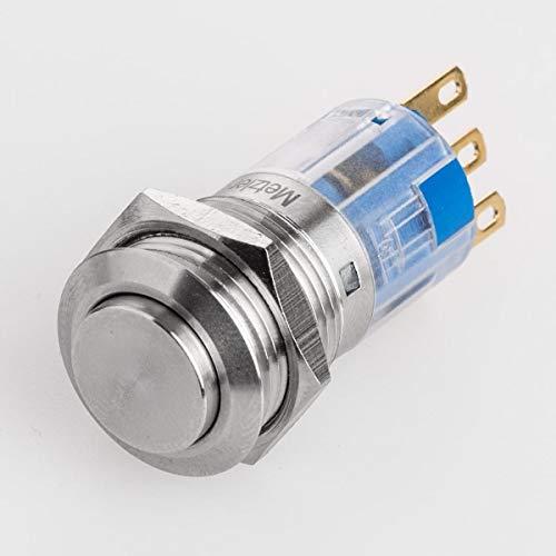Hervorstehender Druckschalter - Durchmesser Ø 19 mm - aus V2A Edelstahl - staub- und wasserdicht nach IP67 Schutzstandard AC/DC - witterungsbeständig und langlebig