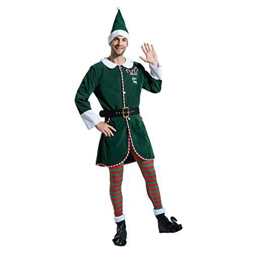 EraSpooky Costumi da Uomo Elfo di Babbo Natale Vestito da Babbo Natale per Adulti