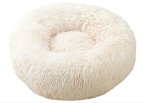 cyxb Letto Cuscino per Cani Gatto,Cat Bed House Round Long Peluche Super Soft Pet Dog Bed Winter Warm Sleeping Puppy for Large Dogs Nest Products Cat Mat-Bianca_Diametro XL 80cm/31,5 Pollici