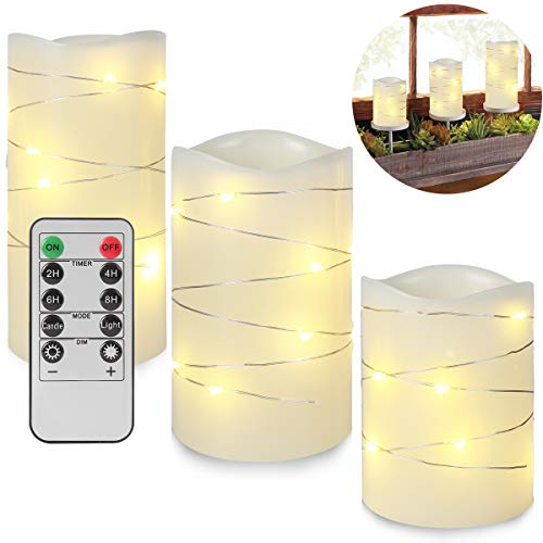 Flameless Candles with Remote,Christmas Decorations Candles,Battery Operated Real Wax Pillar Flickering LED Candles with Embedded String Lights & 10-Key Remote Timer for Wedding Party Home Decor