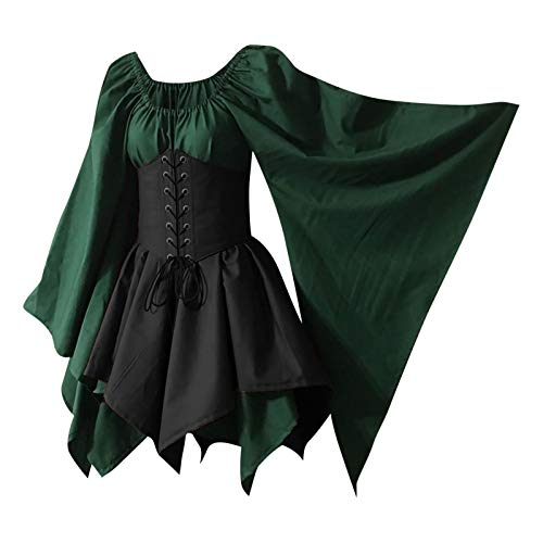 Traditional Irish Dress for Women Short Medieval Costume Renaissance Dress Elf with Corset Halloween Victorian Dress Black
