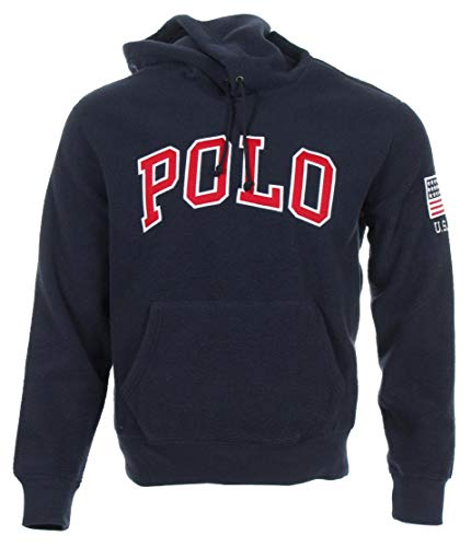 Ralph Lauren Sudadera de forro polar con capucha para hombre con bolsillos laterales – Polo azul marino L