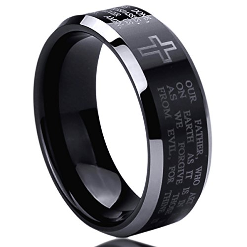 8mm Stainless Steel Wedding Band Ring for Men & Women Lord