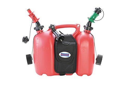 hünersdorff 805062 PROFI Doppelkanister / Kombikanister für Kraftstoff und Öl mit Satteltasche und zwei Einfüllsystemen, 6 + 3 Liter, UN-Zulassung, Made in Germany, Rot