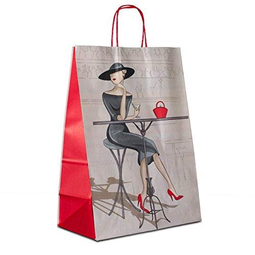 100 x Papiertüten weiss, Motiv: Elegance 32+17x44 cm | stabile Papiertaschen | Papiertragetaschen Kordelhenkel | Papiertüten Mittel | HUTNER