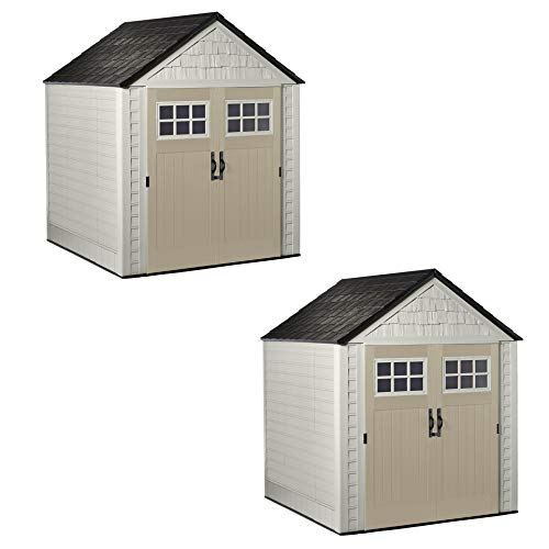 Rubbermaid 7x7 Ft Durable Weather Resistant Resin Outdoor Garden Storage Shed with Windows and Utility Hooks, Sand, 2 Pack