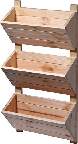 dobar 58383FSCe Väggmonterad med 3 planteringslådor, vertikal säng för upphängning, 38 x 17,5 x 79 cm, natur