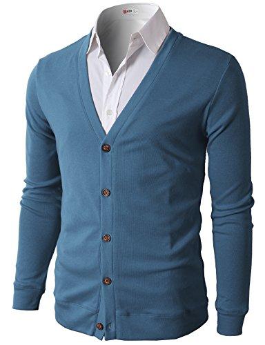 H2H Mens Casual Slim Fit Basic Designed Cotton Cardigan, CMOCAL012-DARKBLUE, US XL (Asia 2XL)