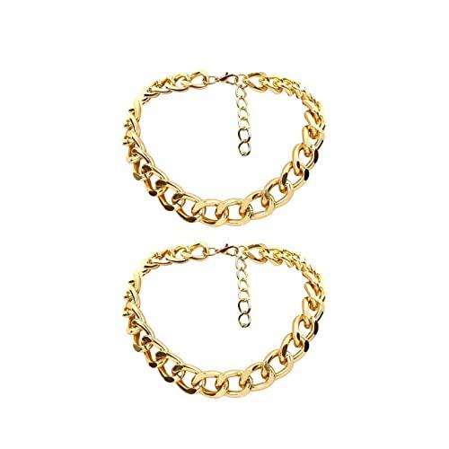 CREACEC Collar, collar hip hop grande grueso de aluminio oro grueso cadena cadena collar mujeres joyas, oro