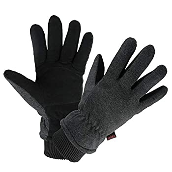 Warm Gloves Deerskin Leather Winter Thermal Glove Insulated Polar Fleece for Snow Skiing Driving Cycling Hiking Runing Hand Warmer in Cold Weather for Women and Men Small Gray