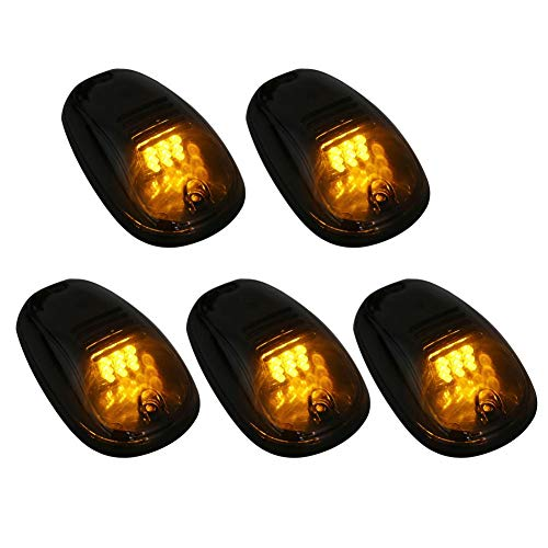 Qiilu 5Pcs Couvercle fumé Amber LED Cab Roof Top Marker Running Light pour camion SUV 4x4