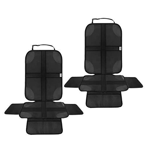 Ezilif Kindersitzunterlage 2 Stück ISOFIX geeignete Sitzschoner Auto Kindersitz, mit Anti-Rutsch Funktion Autositzschoner, Autositzauflage Sitzschutz (Schwarz)