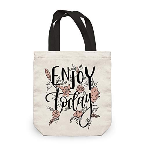 NymphFable Bolsa Lona Mujer Flores Letras Reutilizables Ecológicas Bolsas para Comestibles Plegables Grande