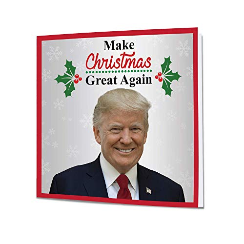 President Trump Christmas Talking Greeting Card - Real Voice and Music - Make Christmas Great Again - Funny Patriotic USA - Christmas Holidays Gifts for Men Women Mom Dad Husband Wife Sister Presents
