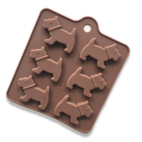 Conjunto de moldes de silicona de 6 pasatiempos Moldes 3D Muffin Dog para pasteles, hornear, mini cake, cupcake, chocolate, hielo, etc.
