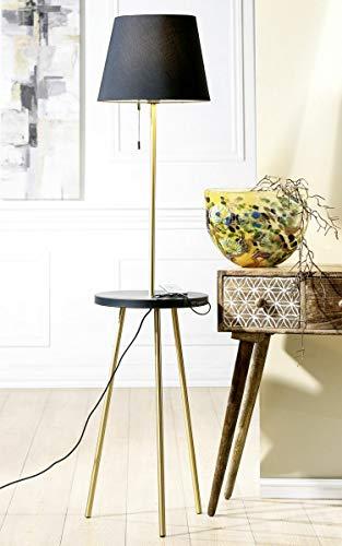 Gilde metalen staande lamp + tafel Tavolo (BxHxD) 37 x 159 x 37 cm zwart/goud, scherm zwart, E 27/max 40 W