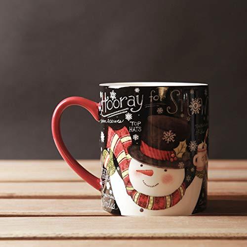Tasse Geschenk Kaffeebecher Weihnachtsbecher Keramik Handgriff Porzellan Schneemann Kaffeetasse Verdicken 450Ml Schwarz Rot Tassen Und Becher Großhandel, Schwarz, 450Ml