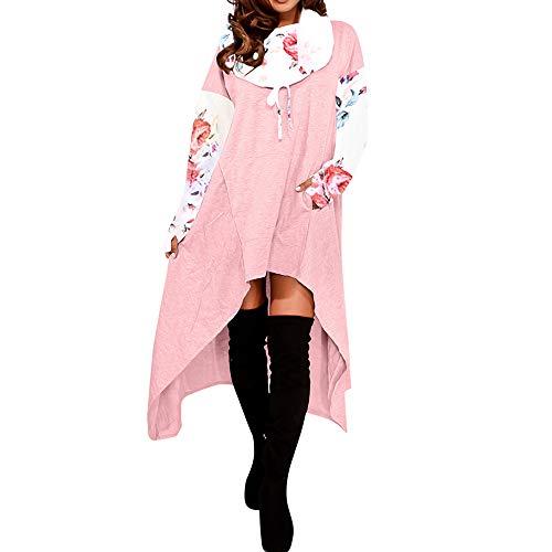 NPRADLA 2018 Herbst Damen Pullover Lose Hoodie Lange Kapuzenoberteile Sweatshirt Asymmetrische Bluse