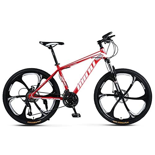 WANYE 26 Pollici Mountain Bike Alluminio 21/24/27/30 velocità con Telaio in Acciaio Ad Alto Tenore di Carbonio Freno a Disco 3/6 Razze red-30speed