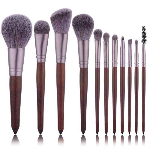 MEIMEIDA Ensemble de pinceaux de maquillage en bois rouge, ensemble de pinceaux de maquillage Kabuki, poudre à base d'ombre à paupières, brun