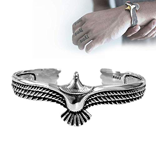 WENLIANG Eagle Cuff Bracelet, Vintage Rock Punk Bangle Cuff Wristband Bracelet, Adjustable Eagle Cuff Wrisband Open Ended Bangle For Men, For Husband And Boyfriend silver color