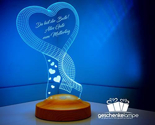 Sentidos Personalisierte Valentinstag Muttertagsgeschenk 3D Led Lampe Wunschtext Schlummerlicht Farbwechsel Dekor Lampe Motiv Ein Herz