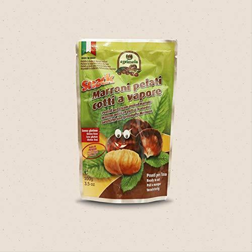 Snack, Marroni Pelati Cotti a Vapore - 100 Gr. - Cartone da 12 pezzi