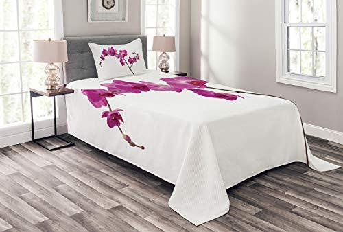 ABAKUHAUS Magenta Tagesdecke Set, Wilde Orchideen Petals, Set mit Kissenbezug Romantischer Stil, für Einselbetten 170 x 220 cm, Violett