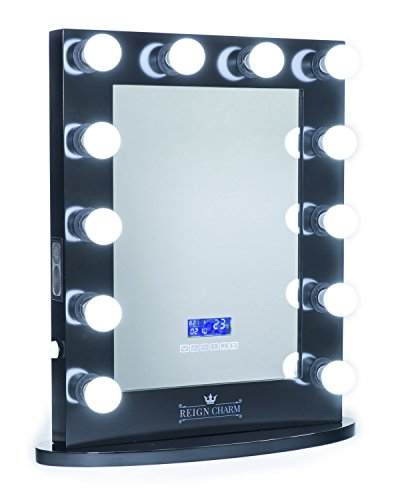 ReignCharm Hollywood Vanity Mirror Bluetooth Audio-Enabled LED Light Bulbs, Black