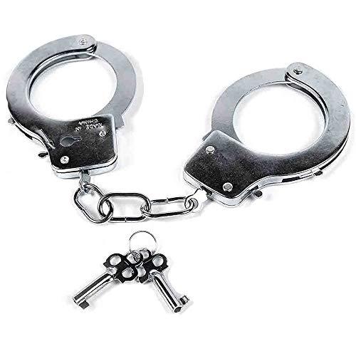 Bdwing - Manette in Metallo con Chiavi. Bomboniere per Police SWAT Role Play. Manette Giocattolo per Bambini in Metallo - Accessori per Feste (Argento)