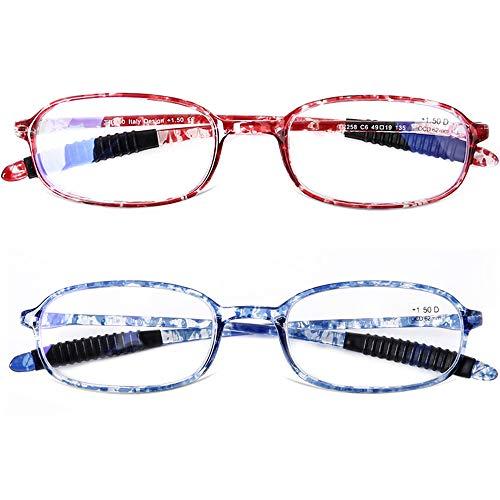 DOOViC Blaulichtfilter Leichte Lesebrille Schildkröte Rechteckige - Flexible Brille/Lesehilfe/Sehhilfe/Nahbrille für Damen/Herren/Computer 2,0