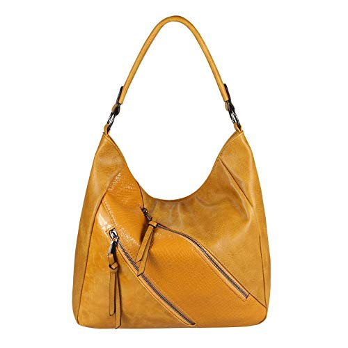 OBC Damen Tasche Shopper Tote Bag Handtasche Umhängetasche Schultertasche Beuteltasche Leder Optik Hobo Crossbody (Gelb 36x32x14 cm)