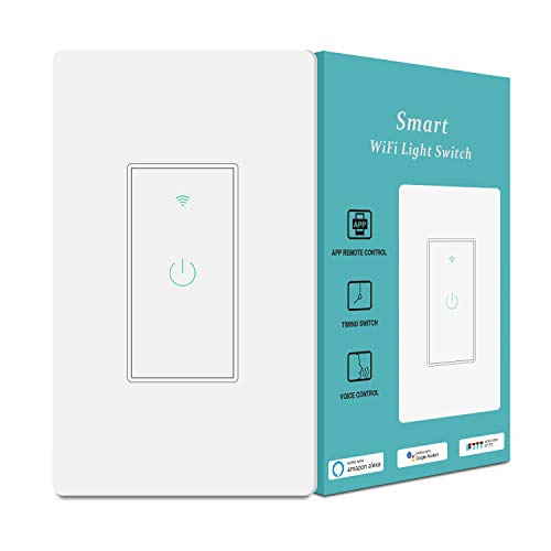 Smart Light Switch&Alexa Smart Switch&2.4Ghz WiFi Light Switch with Timer and Remote Control,Schedule,Neutral Wire Needed,Compatible with Alexa, Google Assistant and IFTTT,Single Pole(1pack)…