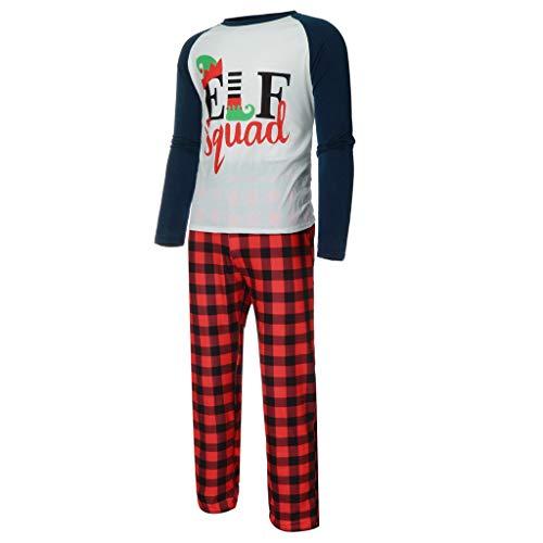 BaZhaHei Herren Damen Mädchen Jungen Weihnachten Familie Kleidung Set Pyjama Outfit Sets Lang Schlafanzüge Cartoon Brief drucken Patchwork Top Karierten Hosen Sets Pyjama Anzug