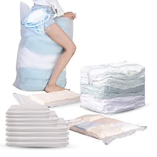 圧縮袋 マチ付き圧縮袋2枚 普通圧縮袋6枚 丈夫で長持ち 再利用可能圧縮袋 ポンプ不要 布団用 枕用 寝具用 毛布用 衣類用