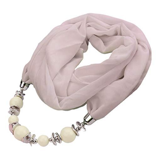 JunYe Damessjaal, vintage etnische stijl, effen gekleurde infinity-sjaal met grote parels, legering, ketting Jewerly hanger, halsketting sjaal - 9