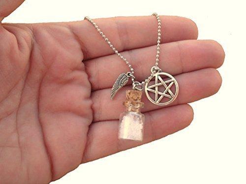 Supernatural Charm Halskette–Schutz Halskette–Salz und Devil 's Trap Halskette