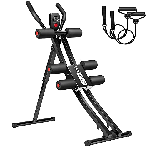 VIVOHOME Height Adjustable Foldable Core Abdominal Trainer with Resistance Bands, LCD Display AB Workout Machine Home Gym Strength Training Equipment