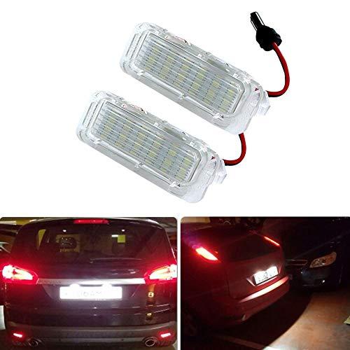 Yijueled Iluminación de matrícula LED License Plate Lights luces traseras universales luz blanca xenón 6500 K para Mondeo Fiseta Kuga